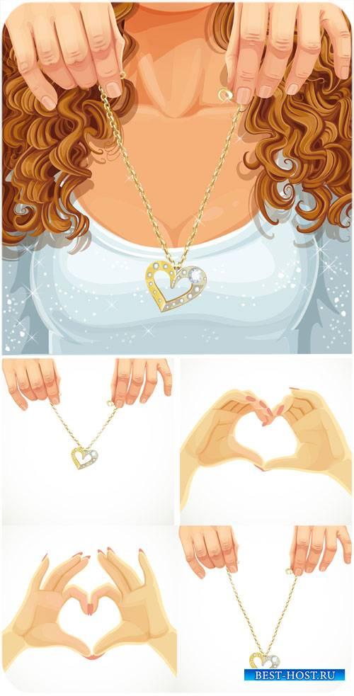 Золотая цепочка с сердечком - вектор