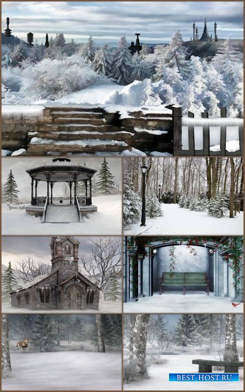 Зимние сказочные фоны