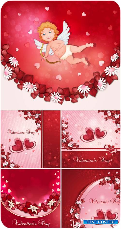 Валентинов день, ангел, сердечки и цветы - вектор