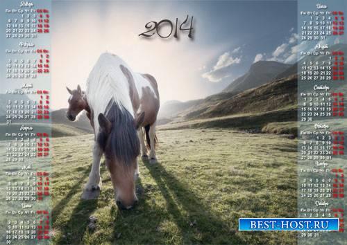 Календарь - Кони пасутся на лужайке