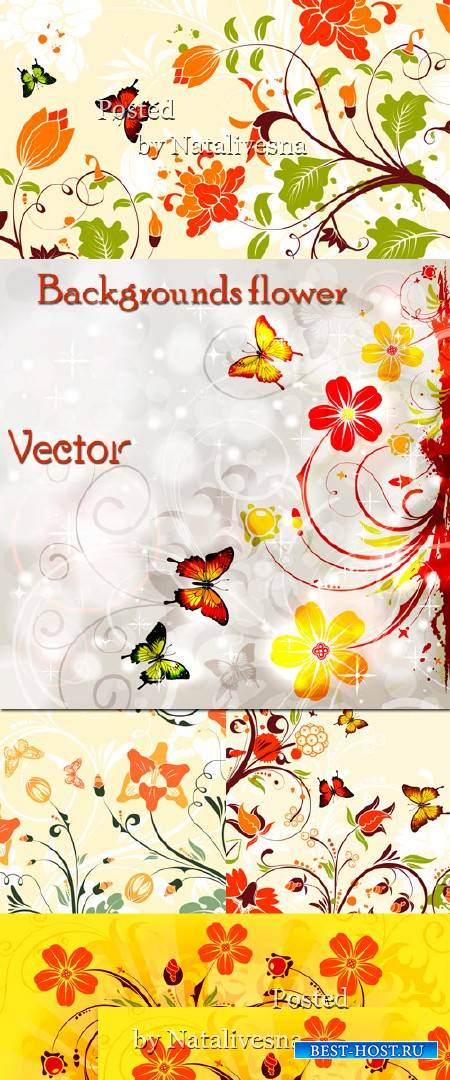 Цветочные фоны в Векторе с цветами