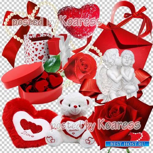 Png клипарт для фотошопа - сердечки, красные розы, подарки, банты, игрушки  ...