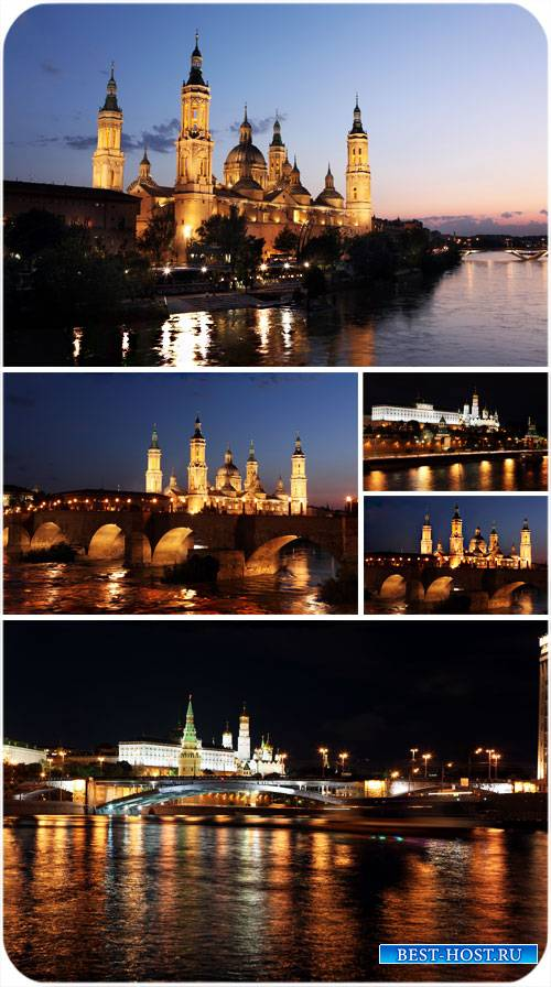 Ночной город, мост, река - сток фото