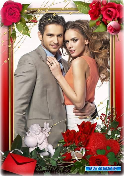 Романтическая рамка к празднику влюбленных - романтика любви