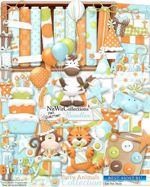 Детский скрап-комплект - Вечеринка животных
