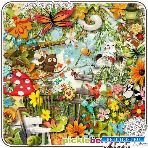 Яркий цветочный скрап-комплект - Сад изобилия