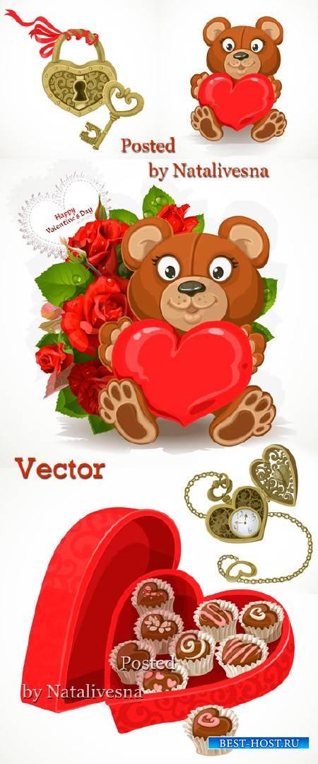 Мишка с букетом  и конфетами в Векторе