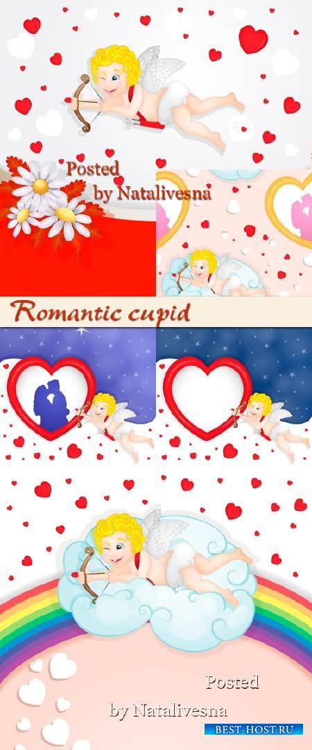 Вектор -  Романтичный купидон на облаке
