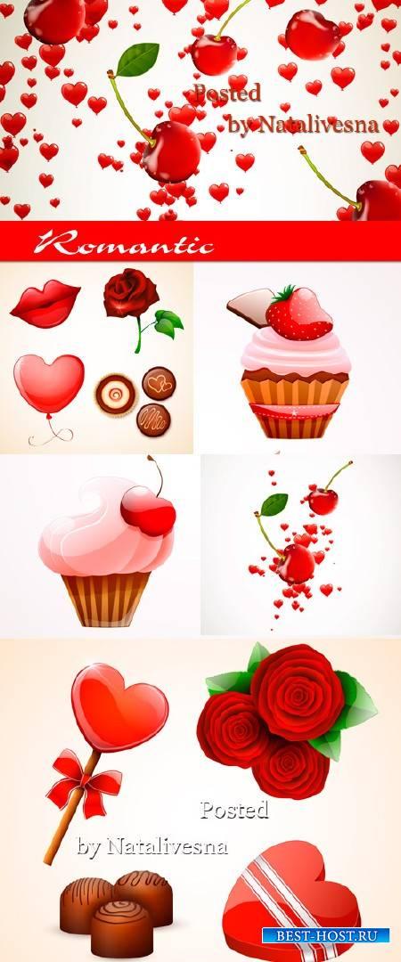 Розы, пирожное и конфеты в Векторе