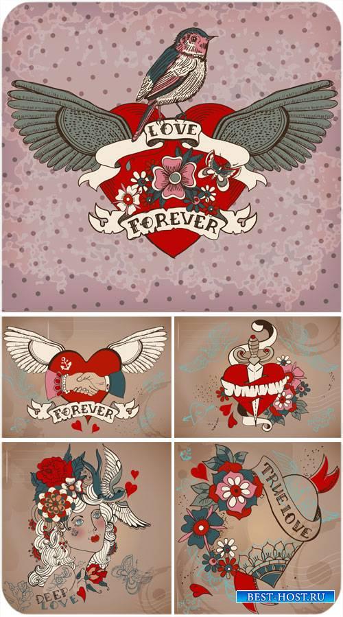 Романтичные рисунки в векторе