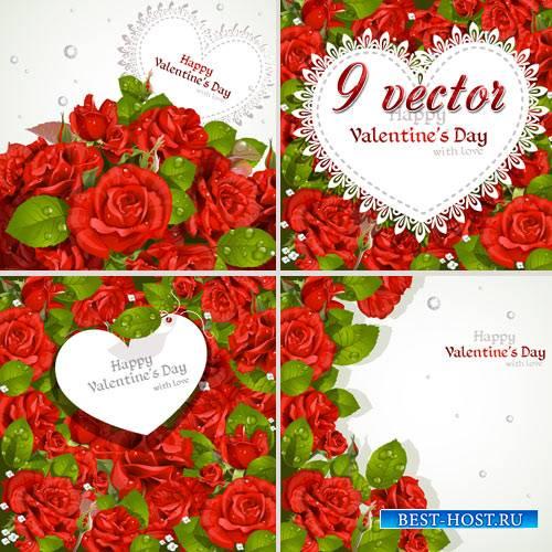 Векторный клипарт - Красные розы с открытками
