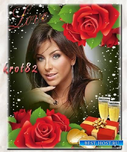Романтическая рамка для фотошопа с красными розами, сердечками и подарком