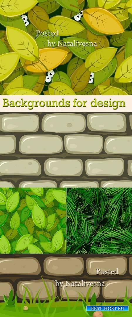 Векторные фоны для дизайна - Зеленая листва