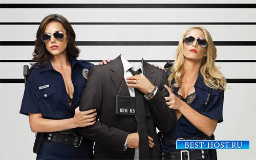 Шаблон psd мужской - Задержание двумя полицейскими