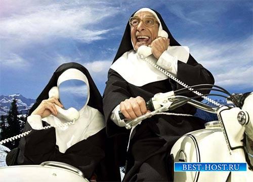 Шаблон psd женский - Монашка в коляске с телефоном