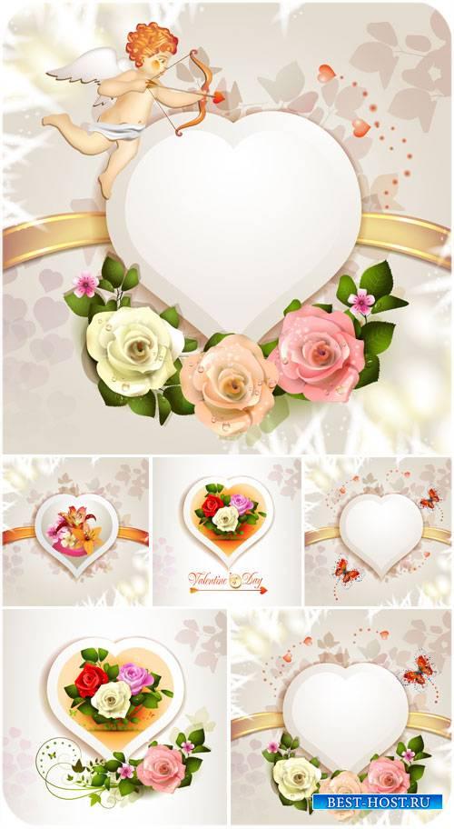 С днем святого Валентина, розы, ангелочек и сердечки в векторе
