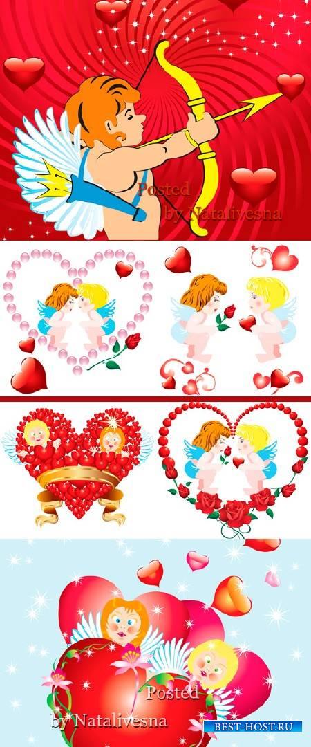 Векторные фоны с Купидоном и сердечками