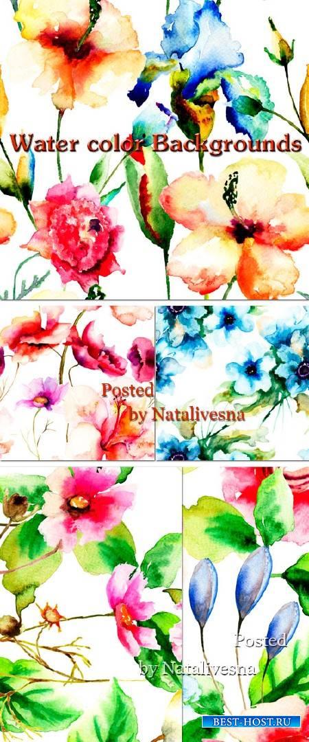 Акварельные фоны с красивыми цветами