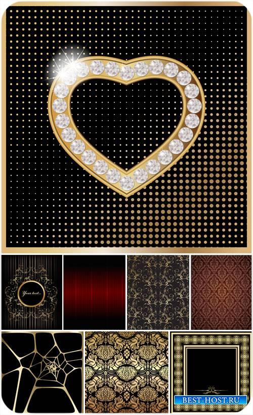 Векторные фоны с золотыми узорами, золотое сердце