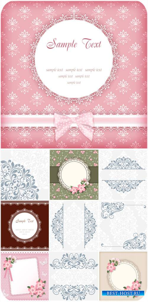 Векторные фоны с узорами, цветы и нежные орнаменты