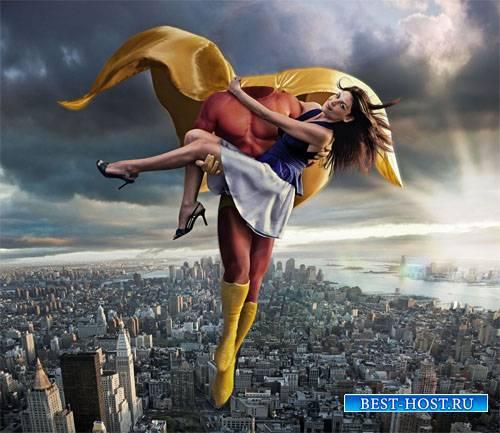 Мужской шаблон - Супер герой спасает девушку