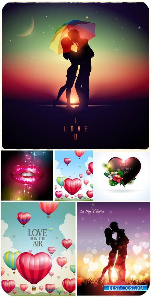 Влюбленная пара , фоны с сердечками,  Валентинов день в векторе