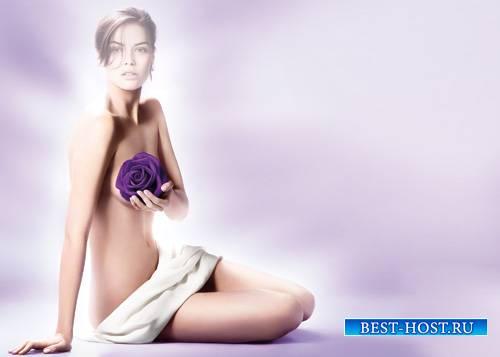 Шаблон женский - Фотосессия с розой в фиолетовых тонах