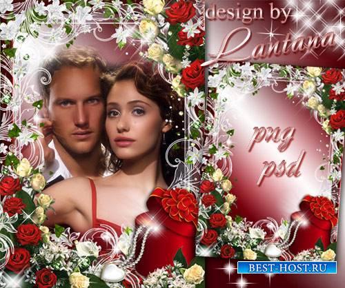 Романтическая рамка - Красные розы, как яркое скерцо