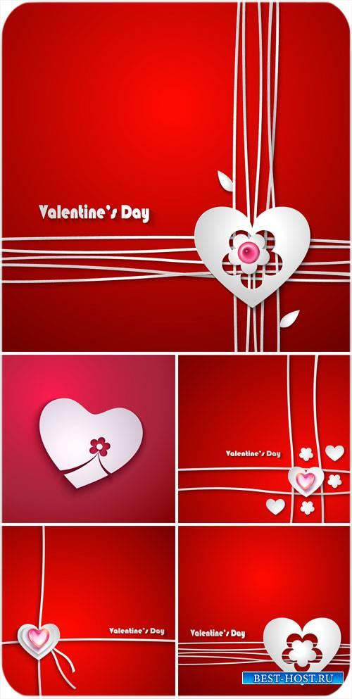 С днем святого Валентина, красные векторные фоны с сердечками