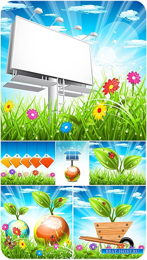 Природа, трава цветы - вектор