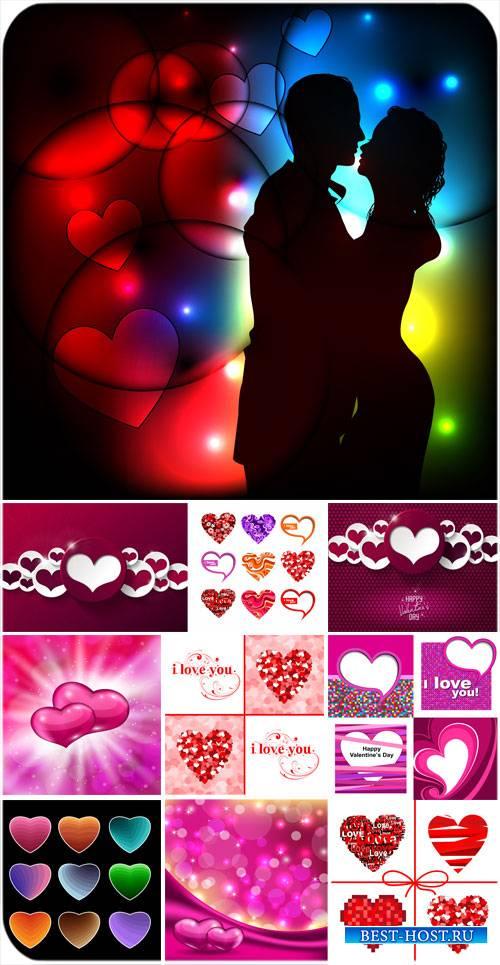 С днем святого Валентина, векторные фоны с сердечками