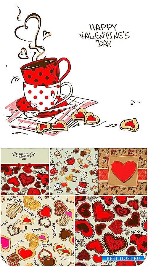 Векторные фоны с сердечками в винтажном стиле