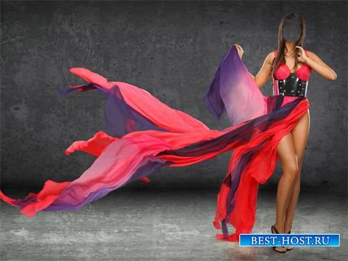 Шаблон psd женский - Брюнетка в сине-красном платье