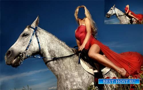 Шаблон женский - На коне по маковому полю