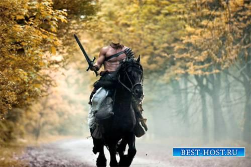 Шаблон для Photoshop - Мужественный воин на коне