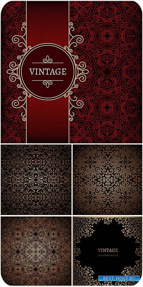 Винтажные векторные фоны, золотые узоры, орнаменты