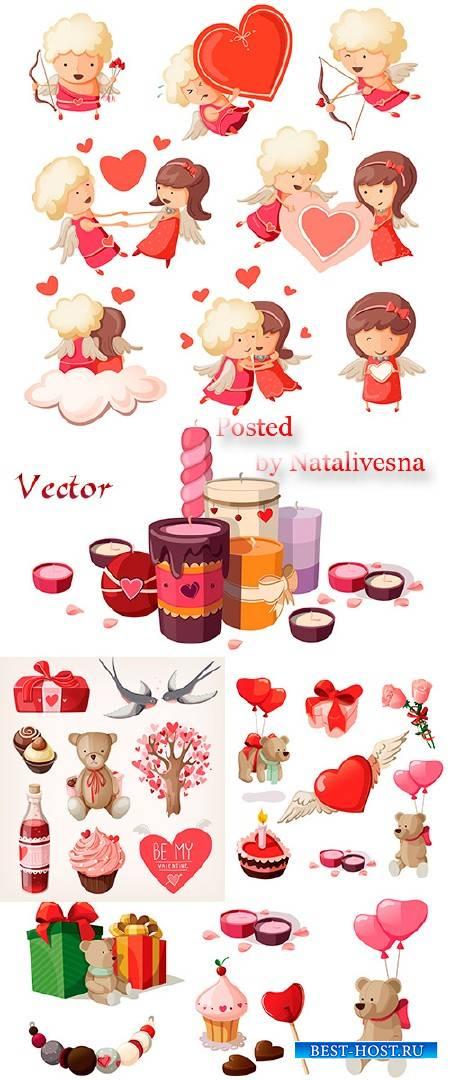 Романтичные ангелочки и сладости в Векторе