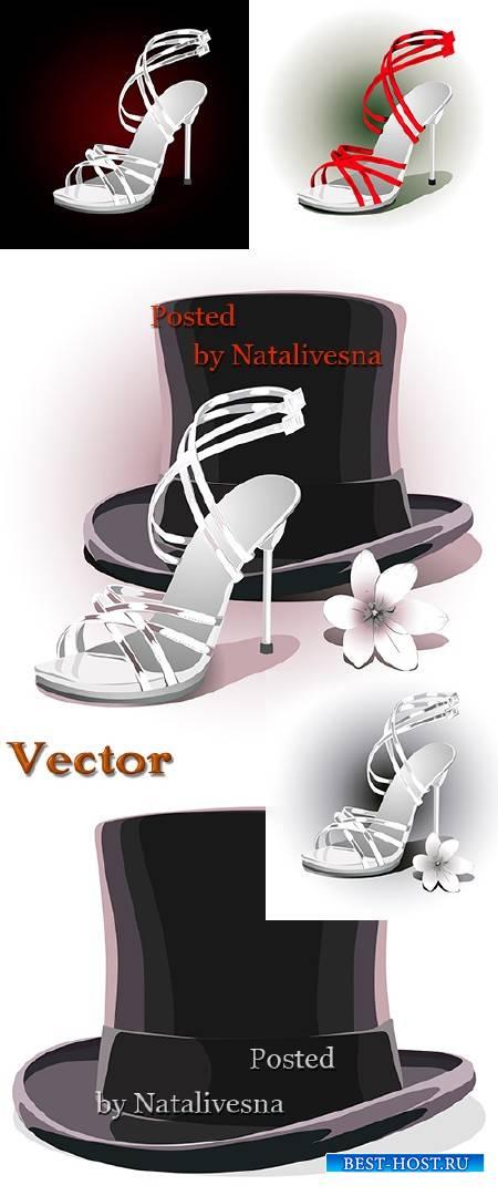 Свадебные туфли и шляпа в Векторе