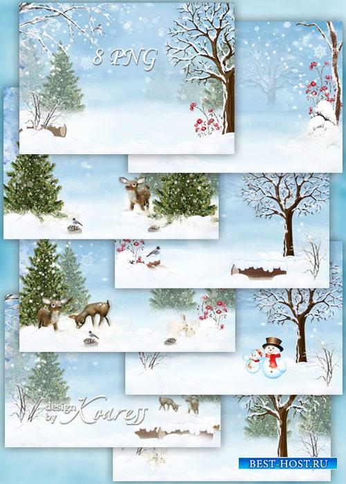 Набор детских зимних фонов для фотошопа - заснеженные деревья, кусты, олени ...