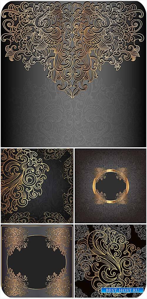 Фоны с красивыми золотыми узорами, винтаж, вектор