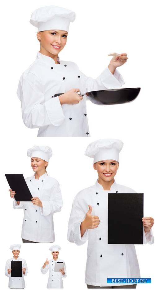 Повар, девушка со сковородкой - сток фото