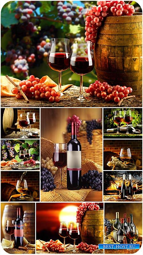 Вино, бокалы с вином и виноград - сток фото