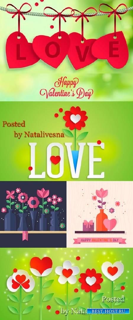 Романтичные фоны ко Дню Влюбленных в Векторе