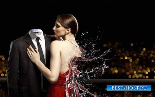 Шаблон мужской - Креативное фото с девушкой из воды