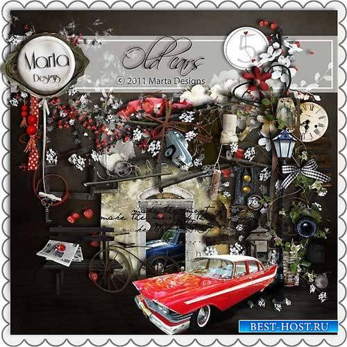 Тематический мужской скрап-комплект - Старинные автомобили