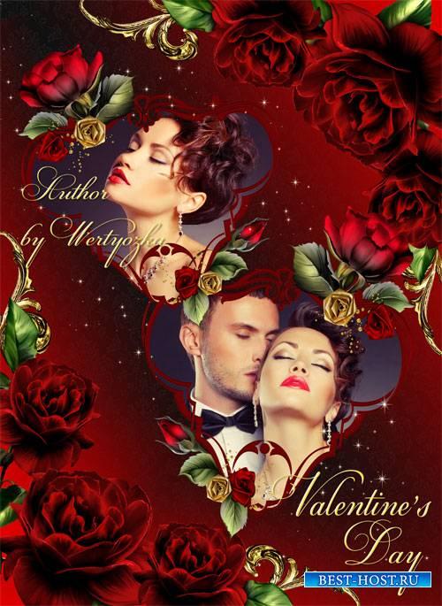 Рамка для фотошопа - Красные розы, страсть и огонь