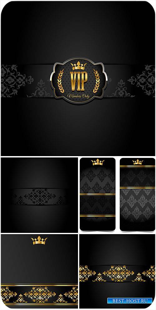Черные векторные фоны с золотыми украшениями, вип фоны