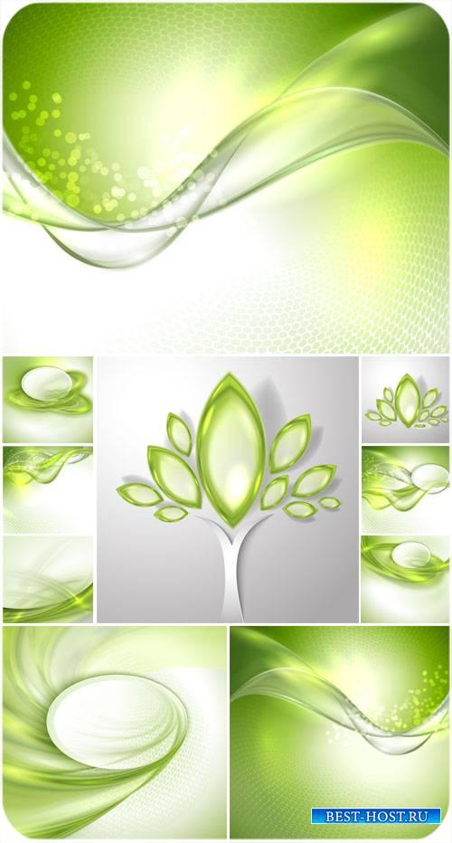 Векторные зеленые фоны, природа