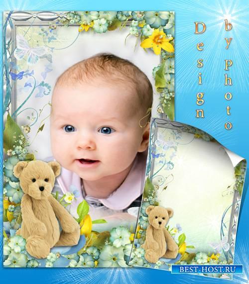 Детская рамка для фото с медвежонком