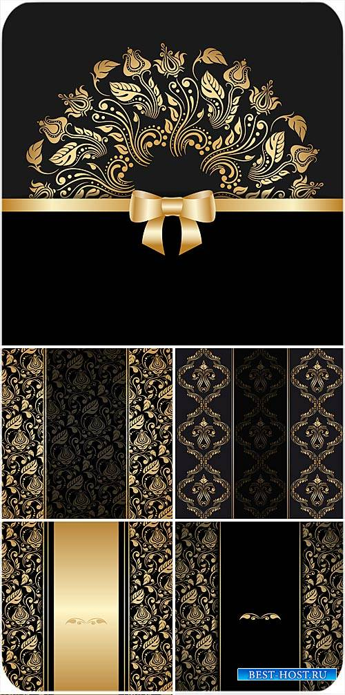 Золотые узоры, черные векторные фоны, винтаж
